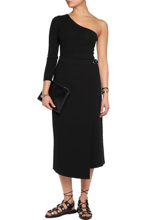 T by ALEXANDER WANG Wrap-effect crepe midi skirt