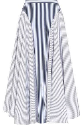 ADAM LIPPES Asymmetric striped cotton-poplin midi skirt