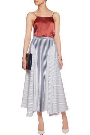 ADAM LIPPES Asymmetric striped cotton-poplin midi skirt