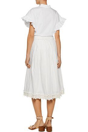 10 CROSBY DEREK LAM Pleated lace-trimmed cotton midi skirt