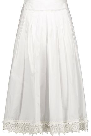 DEREK LAM 10 CROSBY Pleated lace-trimmed cotton midi skirt