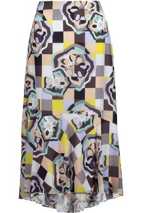 RAOUL Ivy Swing printed georgette midi skirt