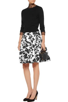 OSCAR DE LA RENTA Poppy pleated printed faille skirt