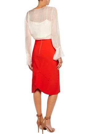 DION LEE Layered stretch-crepe pencil skirt