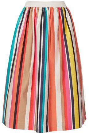 ALICE + OLIVIA Nikola striped stretch-cotton poplin midi skirt