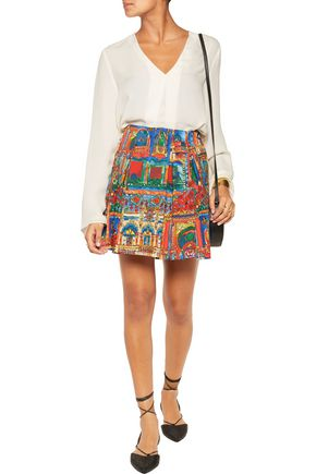 ALICE + OLIVIA Connor printed cotton-blend mini skirt