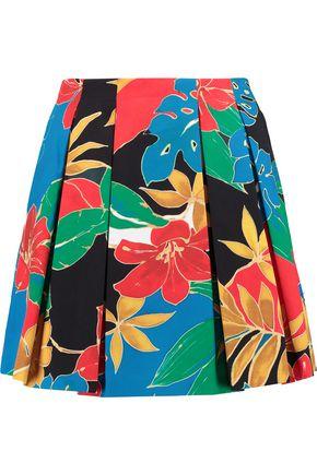 ALICE + OLIVIA Connor pleated printed cotton mini skirt