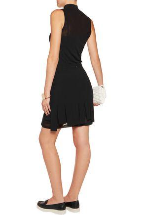 DKNY Fringed crepe mini skirt