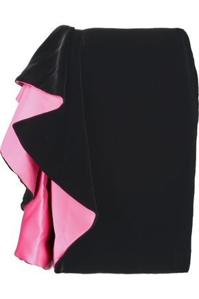 LANVIN Ruffled velvet skirt