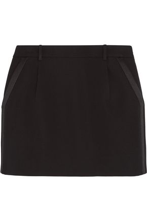 SAINT LAURENT Silk-trimmed wool-crepe mini skirt