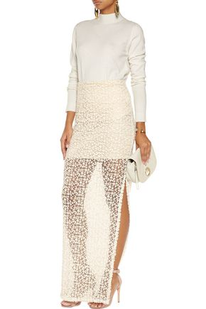 ALICE + OLIVIA Misha embroidered tulle maxi skirt