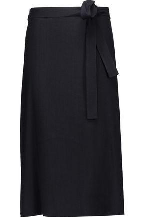 HELMUT LANG Wrap-effect ramie-blend midi skirt