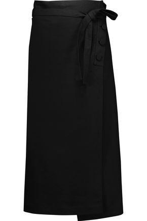 HELMUT LANG Wrap-effect cotton and linen-blend midi skirt
