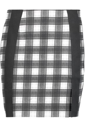 CARVEN Gingham stretch-cotton mini skirt