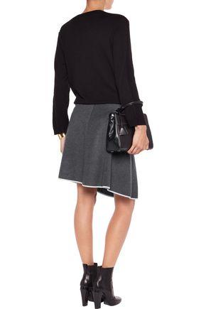 PRINGLE OF SCOTLAND Asymmetric silk-trimmed cashmere-felt skirt