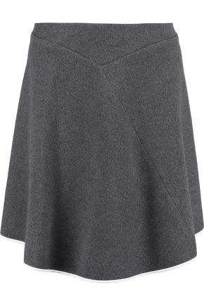 PRINGLE OF SCOTLAND Asymmetric silk-trimmed cashmere-felt skirt