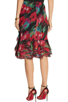 JASON WU Ruffled printed silk-chiffon skirt