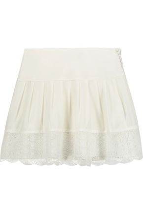 DIANE VON FURSTENBERG Belita lace-trimmed silk-blend mini skirt