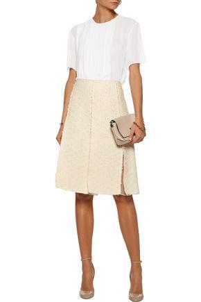 NINA RICCI Pleated cotton-blend tweed and silk-georgette skirt