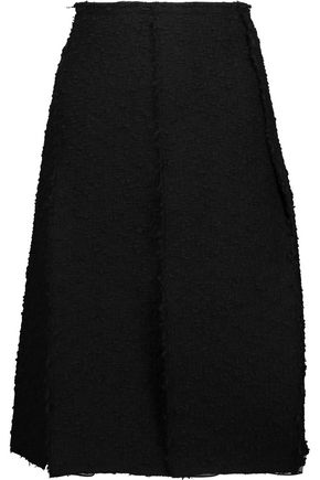 NINA RICCI Pleated cotton-blend tweed and silk-georgette skirt