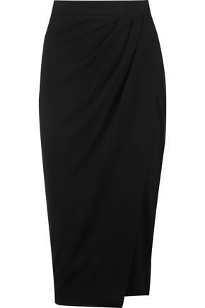 IRIS AND INK Amber wrap-effect ponte-jersey skirt