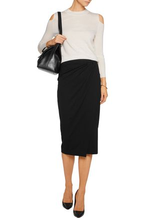 IRIS & INK Amber wrap-effect ponte-jersey skirt