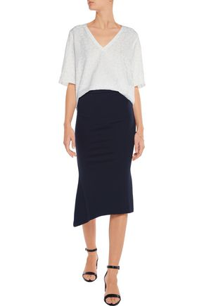 IRIS AND INK Cressida asymmetric stretch Milano-knit skirt