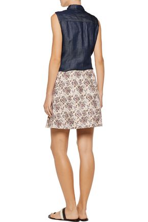 TORY BURCH Karina printed silk and cotton-blend wrap mini skirt