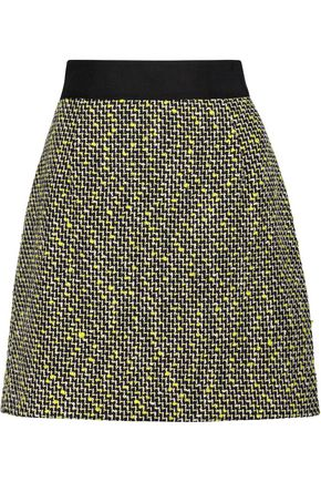 WOMAN COTTON-BLEND TWEED MINI SKIRT CHARTREUSE