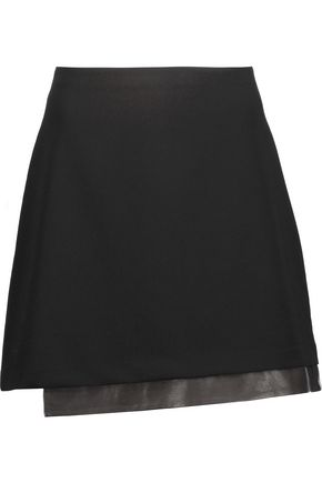 ALICE + OLIVIA Darcie asymmetric leather-trimmed crepe mini skirt