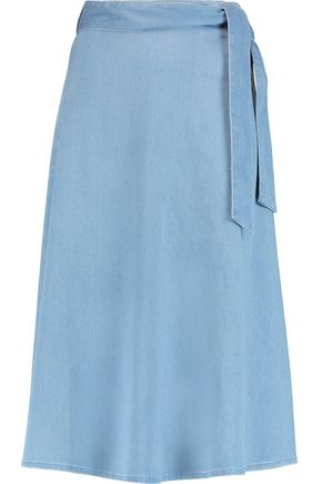 IRIS AND INK Marissa tie-waist denim midi skirt