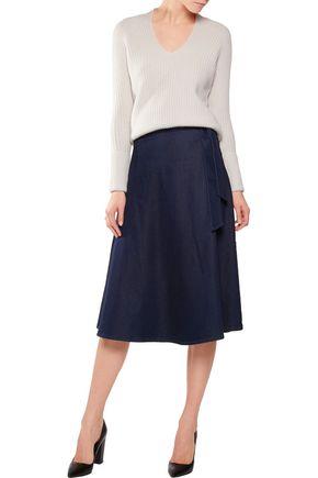 IRIS AND INK Stretch-denim midi skirt