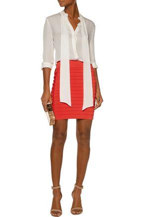 BALMAIN Ribbed stretch-knit mini skirt