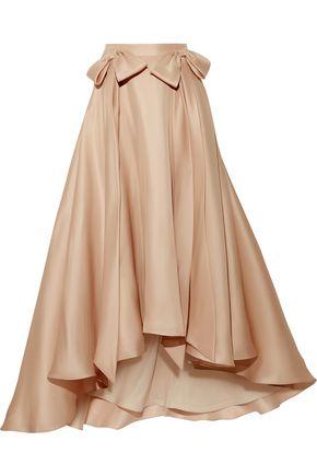 BADGLEY MISCHKA Bow-embellished ruffled silk-gazar midi skirt