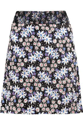 ANNA SUI Oops A Daisy embroidered printed silk-blend crepe skirt
