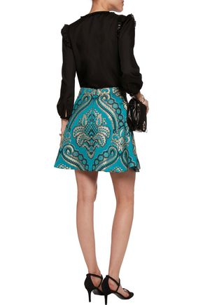 ALICE + OLIVIA Vernon pleated jacquard mini skirt