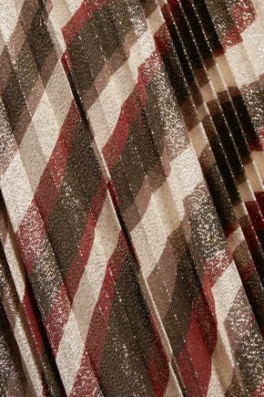 ALICE + OLIVIA Pleated metallic silk-blend maxi skirt
