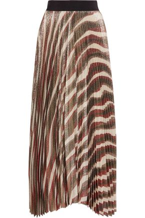 ALICE + OLIVIA Pleated metallic silk-blend maxi skirt