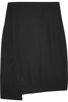 WOMAN LATTICE-PANELED STRETCH-CREPE SKIRT BLACK