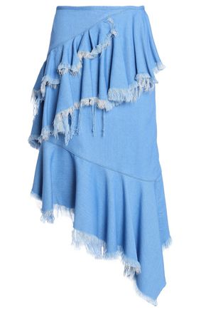 MARQUES' ALMEIDA Asymmetric frayed ruffled denim skirt