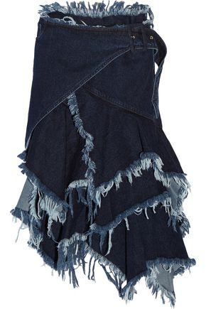 MARQUES' ALMEIDA Asymmetric frayed denim wrap skirt