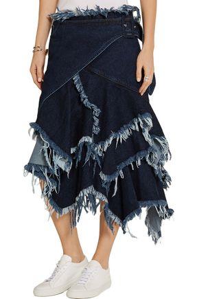 MARQUES' ALMEIDA Asymmetric frayed denim wrap skirt
