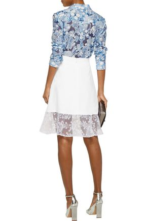 CARVEN Embroidered-organza paneled crepe skirt