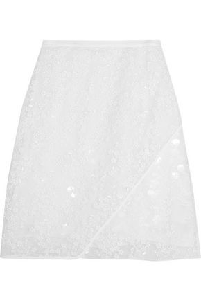 CARVEN Wrap-effect embroidered organza skirt