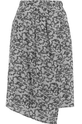 CARVEN Wrap-effect printed crepe skirt