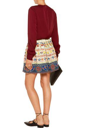 ALICE + OLIVIA Tania embellished cotton-canvas mini skirt