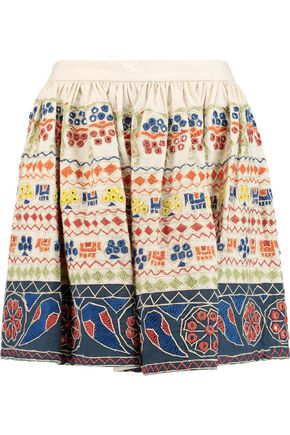 ALICE + OLIVIA Tania embellished cotton-canvas mini skirt