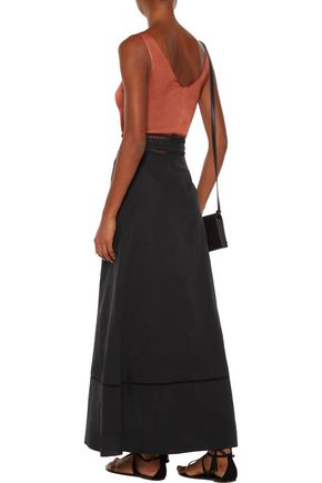 ISABEL MARANT Riley open knit-trimmed linen and cotton-blend maxi skirt