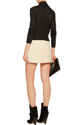 ISABEL MARANT Gael leather-trimmed cotton-matelassé mini wrap skirt