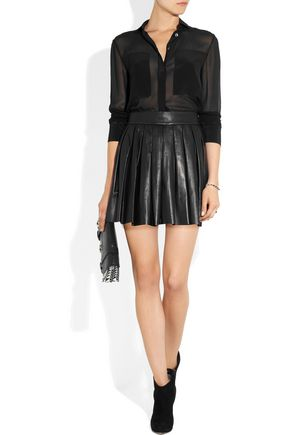 ALICE + OLIVIA Dara pleated leather mini skirt
